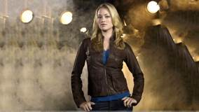 Yvonne Strahovski Sexy Modeling Pose In Brown Jacket